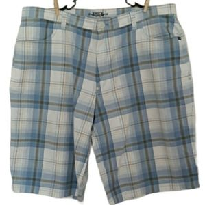 Enyce Size 44 Blue White & Yellow Plaid Shorts